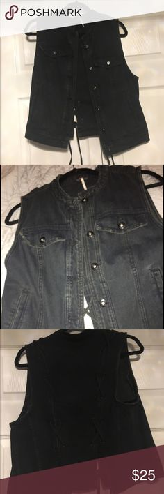 Free People Vest Black Free people vest only worn once in good condition. Very unique design on the back could be worn during winter with turtle neck or long shirt, or could be worn summertime. Free People Jackets & Coats Vests