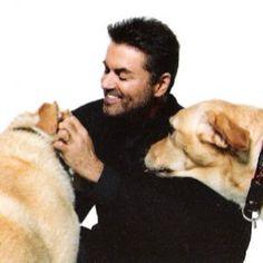 #georgemichael an his dogs Meg & Abby