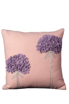 Flower Wool Felt Pillow - 20in. x 20in. - Pink