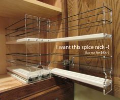 We need an IKEA hack for a pull-out spice rack for our very narrow and very high kitchen cabinet. We are renters, and just moved into a new place.
