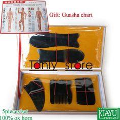12.38$  Watch here - Gift Guasha chart! Wholesale & Retail Traditional Acupuncture Massage hard box Gua Sha kit 5pcs/set 100% ox horn  #magazineonlinewebsite