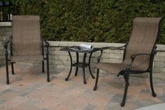 The Westin Collection 2-Person Fully Welded Cast Aluminum Patio Furniture Chat Set by Open Air Lifestyles, LLC. $780.57. The Westin Fully Welded Sling Collection is clean, smart-looking, comfortable and stylish. The finial detail on the solid cast aluminum arm adds a subtle touch of class to the design. This set is solid cast aluminum, not tubular, giving you the weight and durability to withstand any environment, giving you years of use. Set Includes: 2 Sling Dining Chair...