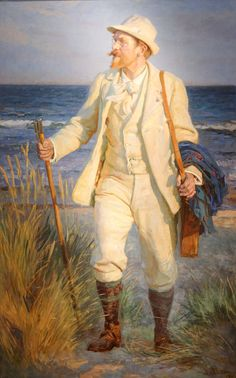 7/23- Happy Birthday, Peder Severin Krøyer, Danish painter, The Skagen Group, 1851-1909. Portrait by Laurits Tuxen, 1905.
