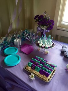 Purple& teal baby shower