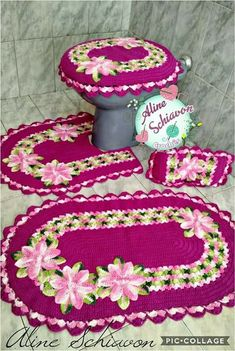 rocky k's 546 media content and analytics Crochet World, Crochet Home, Knit Crochet, Crochet Carpet, Crochet Pumpkin, Bathroom Sets, Cable Knit Sweaters, Knitting Projects, Doilies