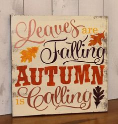 FALL Sign/Leaves are Falling Autumn is Calling/Subway Style/Autumn/Typography/Fall Decoration/Wood Sign/Hand painted/Bronze/Orange/Yellow