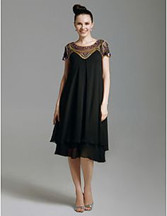 TS+Couture+Cocktail+Party+Prom+Holiday+Dress+-+1920s+Celebrity+Style+Little+Black+Dress+Sheath+/+Column+Scoop+Knee-length+Chiffon+Tulle+–+USD+$+335.00
