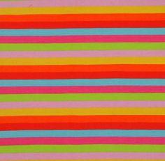 Lollipop Rainbow Stripes Cotton Lycra Knit Jersey Fabric