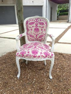 Throne Upholstery Shabby Chic French Louis Armchair Bergere Painted Annie Sloan Upholstered Damask Pink Floral Fabric by Throne Upholstery