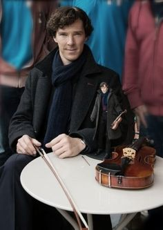 Benedict Cumberbatch--Yes, he's already on this list, but this pic has a violin!!!  Ice cream topping and a violin?  Yes, please!!!