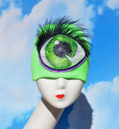 Green Cyclops Beanie Costume Hat - Monster High Iris Clop, Raja of Rupaul's Drag Race Cosplay, Monster, Ghosts, Halloween, Kidswear, Childs