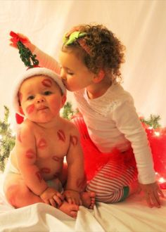 Here's an adorable sister-brother picture for a Christmas card. Sibling Christmas Pictures, Christmas Card Pictures, Xmas Photos, Family Christmas Pictures, Holiday Pictures, Christmas Photo Cards, Christmas Portraits, Babies First Christmas, Christmas Baby