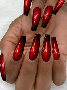 Red Ombre Nails, Bling Acrylic Nails, Red Black Nails, Black Nails With Glitter, Sexy Nails, Hot Nails, Stylish Nails, Trendy Nails, Red Bottom Nails