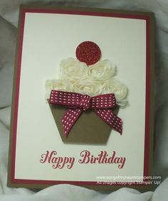 such a cute card.  And a great idea using the rose trim for the icing.  from Lyssa at Song of My Heart Stampers