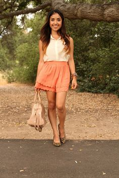 Flushed Scalloped Shorts blog post    What Dulce Candy Wore:  Lush blouse, scalloped shorts from her online store launching Aug. 1st, Leopard shoes Taryn by Taryn Rose via DSW, Lodis handbag, Michael Kors watch, Asos spike bracelet