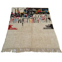 8x6 Feet Handmade Multicolor & Ivory Moroccan Rug Beni Ouarain 100... (845 CAD) ❤ liked on Polyvore featuring home, rugs, floor & rugs, home & living, silver, kilim rug, cream wool rug, kilim area rugs, cream rug and woven wool rug