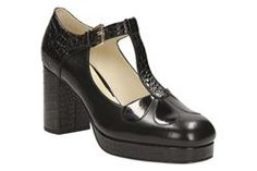 Buy Black Clarks Orla Kiely Abigail Leather T-Bar Platform Shoes from our Womens Shoes, Boots & Trainers range at John Lewis & Partners. Black Flats Shoes, New Shoes, Orla Kiely Shoes, Clarks Shoes Women, Heeled Boots, Shoe Boots, Cinderella Shoes, Platform Shoes, Shoes Online