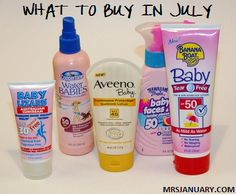 WHAT TO BUY IN JULY! Sunscreen, pop & bottled water, ground beef, insect repellent, hot dogs, condiments, swimwear, craft supplies, standing fans. Source: MrsJanuary.com