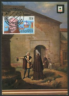"Spain Scott #2533 (30 Oct 1987) Friar Juan Perez, confessor to Queen Isabella and later guardian of the Friary in La Rábida, near Palos de la Frontera (Spain).  Postcard showing Christopher Columbus and his son""s arrival at the Convento de Santa María de la Rábida (a Franciscan friary) near Palos de la Frontera (Huelva, Spain).   Friar Juan Perez and friar Antonio de Marchena aided Columbus and were instrumental in influencing the Catholic Kings that his idea of reaching the East by sailing…"