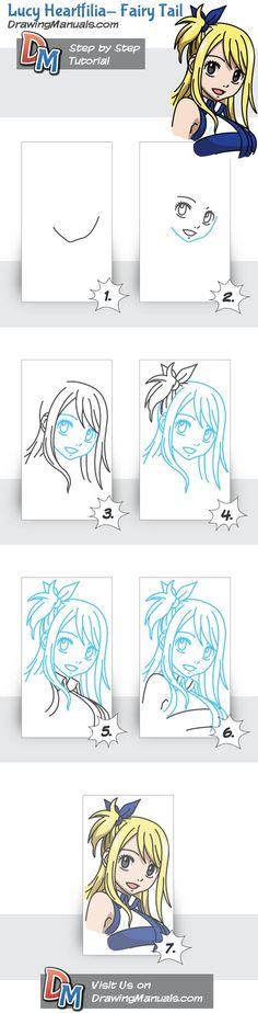 Manga Drawing Tips Lucy Heartfilia – Fairy Tail, Anime Step-by-Step Drawing Tutorial Fairy Tail Anime, Fairy Tail Drawing, Manga Drawing, Drawing Hair, Disney Drawings, Cartoon Drawings, Easy Drawings, Step By Step Sketches, Step By Step Drawing
