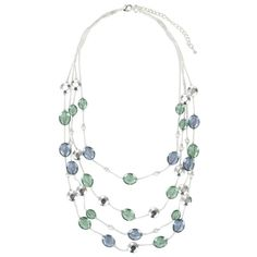 John Lewis Women Beaded Illusion Necklace, Silver/Blue, found on polyvore.com