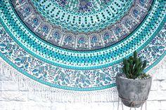Turquoise Cove // Round Tassle Throw Mandala Throw, Beach Blanket, Beach Day, Outdoor Blanket, Tapestry, Turquoise, Peacock, Tassel, Decor Ideas