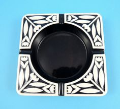 Vintage Hornsea Pottery 1960 Square Colour Inlay Ashtray  by John Clappison