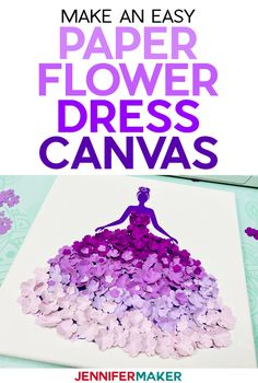 Paper Flower Dress Canvas Wall Art - Jennifer Maker - Easy Paper Flower Dress Canvas Tutorial with free SVG cut file and paper flower templates # - Paper Flowers Craft, Flower Crafts, Diy Flowers, Paper Crafts, Canvas Crafts, Heart Canvas, Canvas Wall Art, Painting Canvas, Leaf Template
