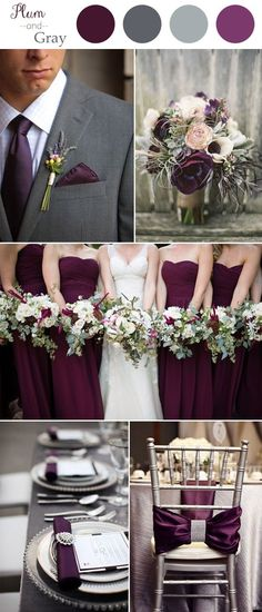 plum and gray rustic wedding color trends 2016
