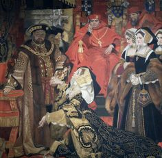 Katherine of Aragon pleading with Henry VIII in 1528 at the Blackfriers.