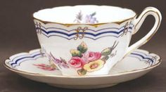 Footed Cup & Saucer Set in Leighton Sprays (Gold Trim) by Coalport