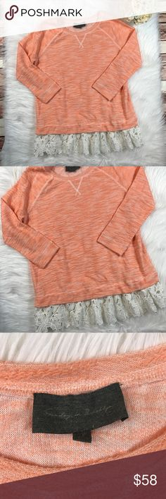 Anthro Sunday in Brooklyn crotchet trim Pullover Size large. In excellent condition, no flaws! Adorable orange color with white crotchet trim! Length-29, bust-22 pit to pit ***NO modeling or trades!! ::474 Anthropologie Tops