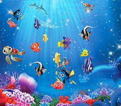 Underwater Cartoon Nemo Sea Full Wall Mural Photo Wallpaper Print Home Deco Kids & Garden Room Wallpaper, Photo Wallpaper, Wallpaper Murals, Home Deco, Underwater Cartoon, Underwater Sea, Decoration Stickers, Deco Kids, Murals For Kids