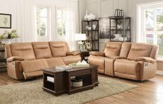 "2 pc Wasola collection brown fabric upholstered double reclining sofa and love seat set. This set features a sofa with a recliner on each end and a love seat with a glider recliner on each end and a storage center console with cup holders. Sofa measures 91"" x 42"" x 39"" H. Glider reclining Love seat measures 79"" x 42"" x 39"" H. Optional single recliner ..."