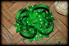 Green Hair Bow  4 inch  Swiss Dot  Boutique Hair by tootoocute4you