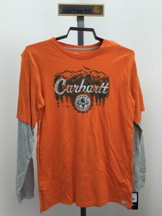 Carhartt CA8205 Boy's Layered Long Sleeve T-Shirt Orange and Gray Size XL NWT! #Carhartt #Everyday