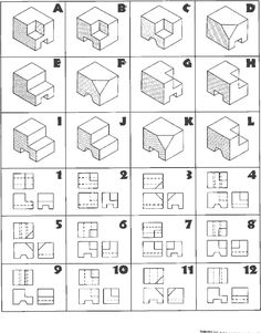 Isometric Sketch, Isometric Shapes, Isometric Art, Orthographic Drawing, Orthographic Projection, Isometric Drawing Exercises, 3d Drawing Techniques, Axonometric Drawing, Interesting Drawings