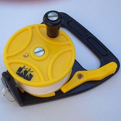 This diving reel is a much better choice as a kayak anchor reel than a retractable dog leash or clothesline reel.  No spring to break, leaving you high and dry.