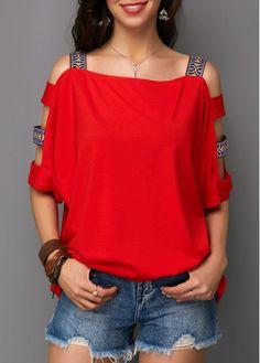 5a9e992920fac5 Square Collar Ladder Cutout Sleeve T Shirt. Women s TeesRed ...