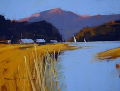 Loch near Glencoe - New works by Matthew Alexander and Tony Allain, PS - Island Fine Arts Pastel Landscape, Sunset Landscape, Contemporary Landscape, Abstract Landscape, Landscape Paintings, Abstract Art, Painting Inspiration, Art Inspo, Guache
