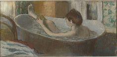 Edgar Degas. Woman in her bathroom, mopping leg . Towards 1883. Pastel on monotype, 19,7 x 41 cm