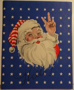 40s WWII Patriotic Santa Giving The Peace Sign Vintage Christmas Card