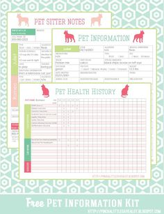 Dog Training These Pet Printables will help keep track of vaccinations, allergies, medications, vet info and other important information for your sitter. Yorkshire Terrier, Westies, Planners, Pet Sitting Business, Dog Walking Business, Home Binder, Home Management Binder, Dog Training Tips, Training Schedule