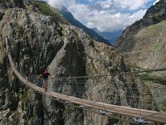 Suspension Bridge Thrift, Switzerland. The bridge is 170 meters. Height over a cliff 100 meters.