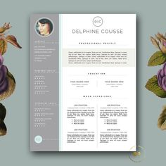 Creative Resume Template | Modern CV Template with free Cover Letter for MS Word | Professional Resume by BotanicaPaperieShop.