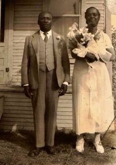 Old Antique Vintage Photograph African American Wedding Bride Groom Flowers | eBay
