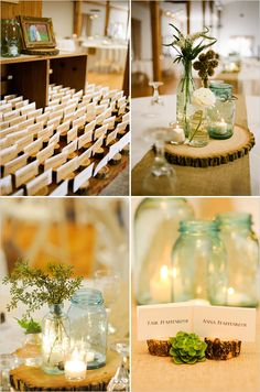 Card holders and table tops  Rustic wedding ideas :)