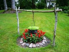 garden decorations and beautiful yard landscaping accents