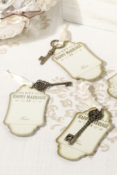 There is nothing more vintage than these key tags and antique gold keys.  We love using both as a guest book alternative!
