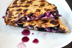 Blueberry Breakfast Quesadilla - tortilla, blueberries, and cream cheese.  Use any fruits!  Strawberries, bananas, strawberries & bananas, raspberries, blackberries, even add nuts - pecans, walnuts, almonds!  Endless possibilities.